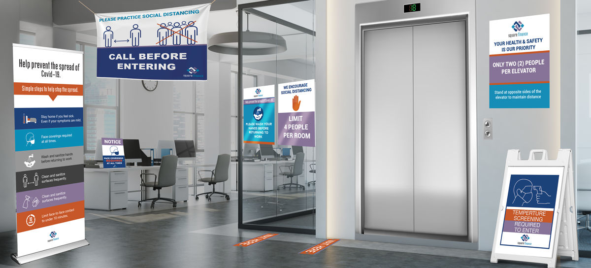 Retractable banners, hanging vinyl banners, wall decals