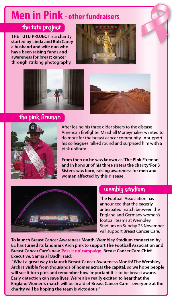 Men around the world do their bit too to raise awareness. The Tutu Project started by Linda and Bob Carey raise funds through striking photography. The Pink Fireman lost three sisters to the disease so when his colleagues presented him with a pink uniform, the charity For 3 Sisters was born. Wembly Stadium are lighting the arch pink in recognition and the women's England v Germany match will support Breast Cancer Care.