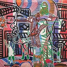 Boris Nzebo Ne Tirez Pas, 2016 Acrylic on canvas 100 x 100 cm Courtesy of Jack Bell Gallery